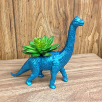 Up-cycled Glittery Blue Apatosaurus Dinosaur Planter