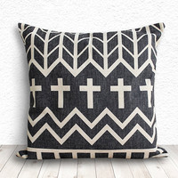 Geometric Pillow Cover, Pillow Cover, Tribal Pillow Cover, Linen Pillow Cover 18x18 - Geometric Tribal - 121
