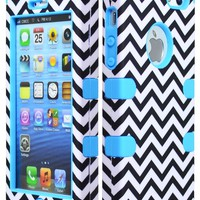 Bastex Hybrid Case for Apple Iphone 5 - Baby Blue Silicone with Hard Black & White Chevron Pattern Shell