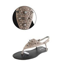 Bamboo Steno02 Taupe Spike Stud Covered Vamp Sandals and Womens Fashion Clothing & Shoes - Make Me Chic