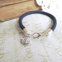 KNOTTY v5 navy blue nautical rope bracelet with anchor by brideblu