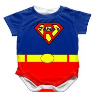 Personalized Handmade Superbaby Onesuit - Available 0-24 Months - Whimsical & Unique Gift Ideas for the Coolest Gift Givers