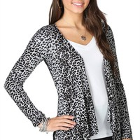 Long Sleeve Cheetah Print Cozy with Black Lace Back