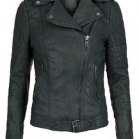 Nido Leather Quilted Biker Jacket in Bottle Green