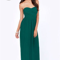 LULUS Exclusive Slow Dance Strapless Dark Teal Maxi Dress