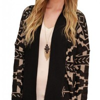 Black and Taupe Aztec Cardigan