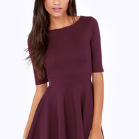 Just a Twirl Burgundy Dress