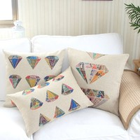 "Cotton and Flax Decorative Pillow Case Pillow Cover Case 18"" x 18"" Square Shape Fancy Diamond A"