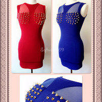 NEW Royal Blue OR Deep Red Gold Spike Studded Mesh Inset SEXY Club Bodycon Dress