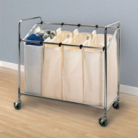 "Household Essentials Laundry Sorter with 3"" Wheels in Chrome - 6024 - Hampers - Bed & Bath"
