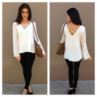 White Long Sleeve Criss Cross Blouse