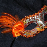 Orange and Silver Feather Mask by TheCraftyChemist07 on Etsy