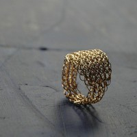 Leaf ring gold filled crochet ring gold leaf by Yoola on Etsy