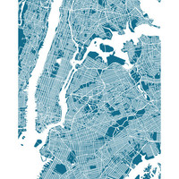 New York City Map Art Poster Print - Choose your color