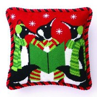 The Well Appointed House by Melissa Hawks. Penguin Christmas Carolers Needlepoint Pillow-FREE SHIPPING!