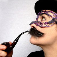 Purple and pewter mens mask, halloween,movember, costume, accessories, handmade