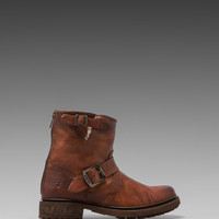 Frye Valerie 6 Motorcycle Shearling Lined Boot in Cognac