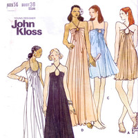 John Kloss Gown  / UNCUT vintage sewing pattern / Butterick 3407 / 1970's Strappy Mini dress or Maxi dress
