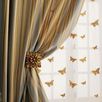 """Milano"" Striped Curtains, Butterfly Sheers, & Holdbacks - Horchow"