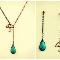 umbrella necklace with matching earrings