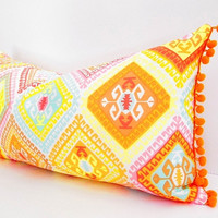 Pink Orange Pillow, Light Blue Yellow Geometric Girls Bedroom Decor, Orange Pom Pom Fringe, Modern Bohemian decorative lumbar chair pillow