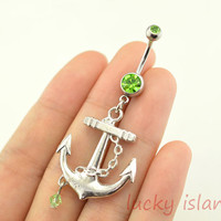 belly ring,anchor belly button rings,bellybutton jewelry,navel ring,anchor bellyring,friendship bellyring