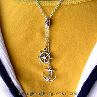 Silver necklace jewelry Anchor necklace & ships by RingRingRing