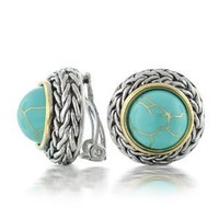 Mothers Day Gifts Bling Jewelry Bali Braided Two Tone Turquoise Dome Clip On Earrings