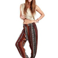 Red & Black Print Boho Style Drop-Crotch Pants