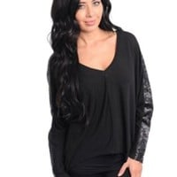 Long Sleeve Sequins Top