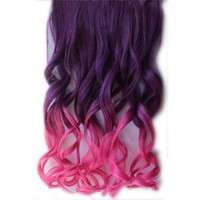 "26"" Colorful Wavy Synthetic Hair Extensions Ponytail Long curly Gradient Hairpiece"