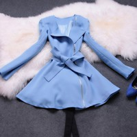Fresh long sleeve coat dress