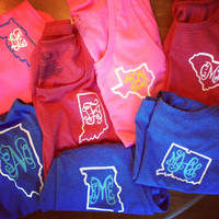 Monogram & State outline Frat Tanks. Custom Made