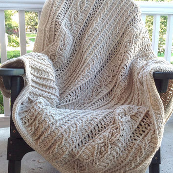 "Oatmeal Colored Acrylic Yarn Crochet Cable ""Knit"" Afghan"