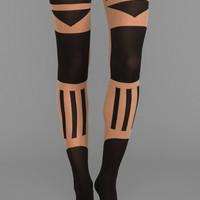 Pretty Polly in association with Patternity Tower Block Tights in Nude/Black