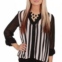 Striped Hi-Lo Button Up Blouse
