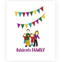 "Family Art, Family Portrait, Colorful Digital Illustration ""Celebrate Family"", 8x10 custom family print"