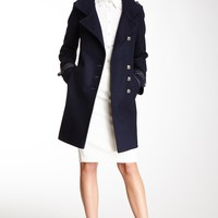 HauteLook | Via Spiga Outerwear: Faux Leather Trim Wool Blend Military Coat
