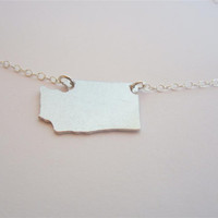 WA State pendant necklace, aluminum Washington necklace