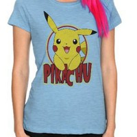 Pokemon Pikachu Heather Blue Girls T-Shirt Plus Size 3XL