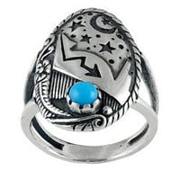 Southwest Moon Sterling Silver Turquoise Accent Moon and Stars Ring | Overstock.com