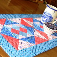 Handmade Quilted Table Runner Blueberry Chex Blue and Red