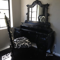 Fabulous and Baroque — Fabulous & Rococo Dressing Table - Black & Dauphine Damask Chair - Cli