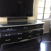 Fabulous and Baroque — Bordeaux Bombay Chest - Black & Silver - Client Photo - Fabulous & Baroque
