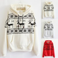 A 091110 Fawn Hooded Fleece Sweater