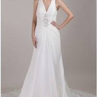 Sexy Halter V-neck Chapel Train Chiffon Wedding Dress