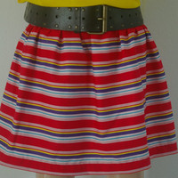 Spots and Stripes Red Multi Stripe Skirt by bamboogees on Etsy