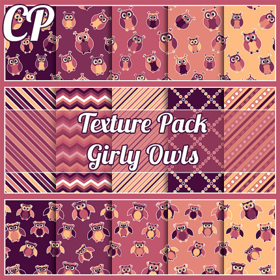 30% sale Girly Owls texture pack. Great from CodeP on Etsy