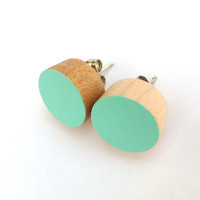 Spearmint earrings, wood stud earrings, mint green earrings, pastel earrings
