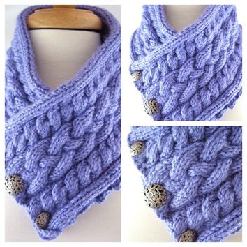 Womens Lavender Blue Triple Cable Button Neck Warmer Scarf Cowl Custom